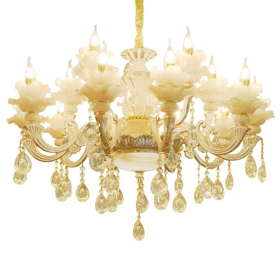 Clear Glass Gold Drop Lamp Sunflower 6/8/18 Bulbs Modern Luxe Ceiling Chandelier with Dangling Crystal Accent