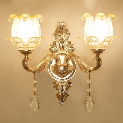 Frosted Glass Floral/Flared Wall Lamp Traditional 1/2-Light Living Room Wall Mounted Light in Gold with Crystal Drop