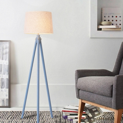 Modern Tapered Drum Floor Lighting Fabric 1 Bulb Living Room Tripod Standing Lamp in Beige/Blue/Flaxen