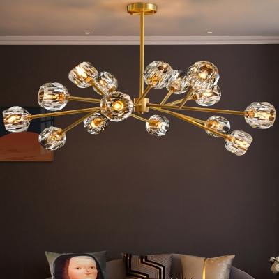 6/12/18-Light Flower Crystal Ceiling Pendant Postmodern Brass Branched Bedroom Chandelier