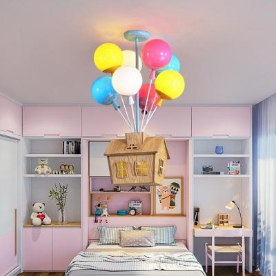 Blue Balloon/Balloon House Ceiling Light Cartoon 6/8 Heads Metal Semi Flush Chandelier in Warm/White Light