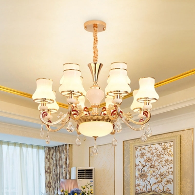 Curve Living Room Pendant Light Traditional Opal Glass 12/15/18-Head Gold Chandelier with Teardrop Crystal
