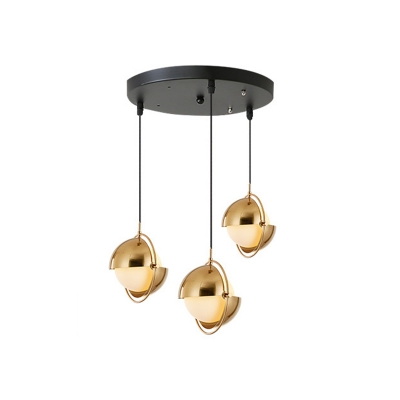 Metal Mobile Shade Cluster Pendant Postmodern 3-Bulb Black/Brass Hanging Light with Ball Milk Glass Shade, Round/Linear Canopy