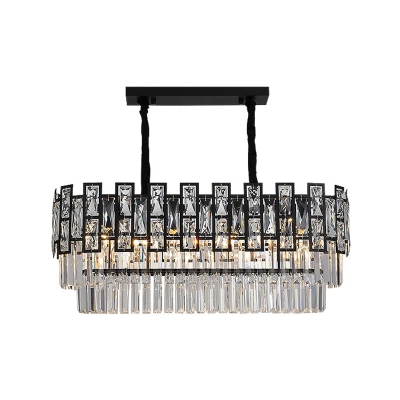 Round/Rectangle Tiered Chandelier Lighting Contemporary Faceted Clear Crystal Prism 8/10/15 Bulbs Black Small/Large Suspension Lamp