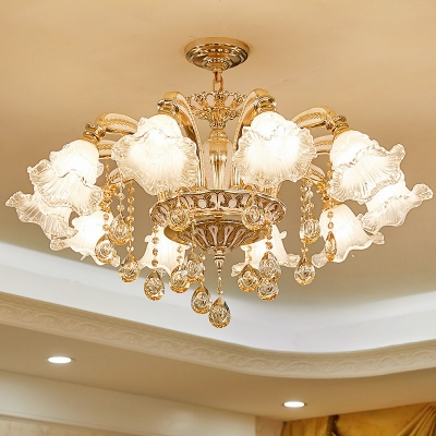Ruffle Living Room Ceiling Chandelier Traditional Clear Glass 10/12/15-Bulb Gold Wall Mounted Lamp with Crystal Drape