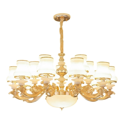 6/8/10-Bulb Curved Ceiling Hang Lamp Retro Gold Opaline Glass Chandelier Light Fixture