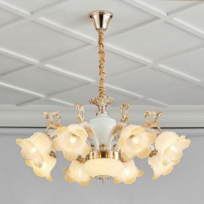 Antique Blossom Chandelier Lamp 6/8/12 Lights Frost Glass Pendant Light Fixture in White