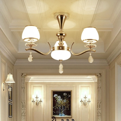Contemporary Tapered Hanging Light White Glass 8/10/15-Bulb Bedroom Up Chandelier with Crystal Deco