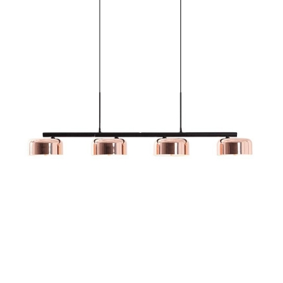 Copper Finish Round Island Light Modern 4-Head Metal Ceiling Suspension Lamp over Table
