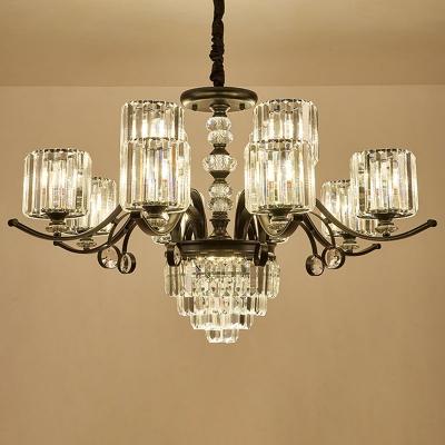 Cylindrical Crystal Prism Chandelier Vintage 12/15/18-Light Dining Room Ceiling Hang Lamp in Black