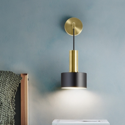 Grenade Bedside Reading Wall Light Metal 1 Bulb Postmodern Sconce in Black/Gold with Swivel/Hanging Cord