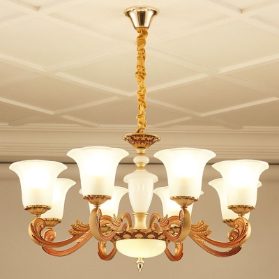 Ivory Frosted Glass Gold Chandelier 2/3/4-Tiered Flared 15/30/35 Heads Traditional Suspended Lighting Fixture