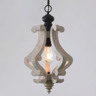 Single-Bulb Pendulum Light Country Style Dining Room Drop Pendant with Jar Wood Cage in Distressed White