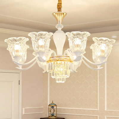 Traditional Floral Up Chandelier 1/12/15-Light Clear Carved Glass Wall Mounted Light for Dining Room