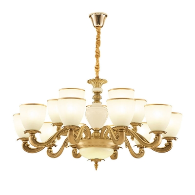 White Glass Bell Up Pendant Lighting Contemporary 6/8/15-Head Brass Chandelier for Living Room