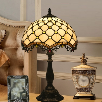 1 Bulb Jeweled Table Lamp Baroque White Cut Glass Night Light with Wavy-Edged Filigree