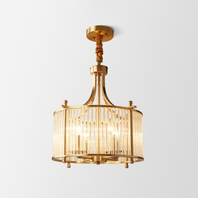 4-Light Hanging Lamp Vintage Drum Clear Fluted Glass Chandelier Pendant in Antiqued Gold