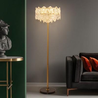 6-Light Living Room Floor Lamp Postmodern Gold Standing Light with Snowflake Crystal Shade