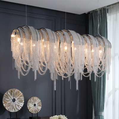 Arched Aluminum Chain Island Light Post-Modern 10 Bulbs Silver/Gold Ceiling Pendant Lamp, 23.5