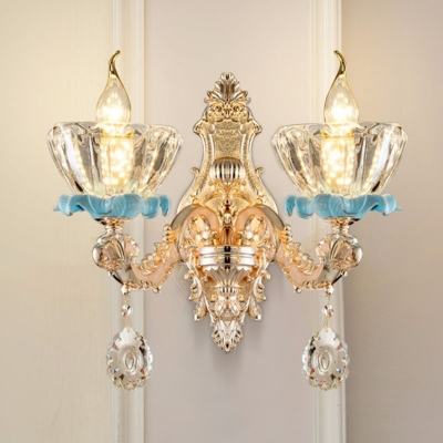 Lotus/Bowl/Ruffle Bedside Wall Lamp Traditional Clear/Frosted Glass 1/2-Light Gold Wall Sconce with Crystal Drop