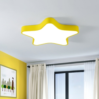 Macaron Star Shaped Ceiling Light Metal Bedroom Small/Large LED Flushmount Lighting in Pink/Blue/Yellow
