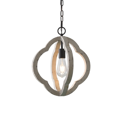 Wooden Distressed White Drop Pendant Quatrefoil/Pear/Oval 1 Light Country Style Hanging Ceiling Light