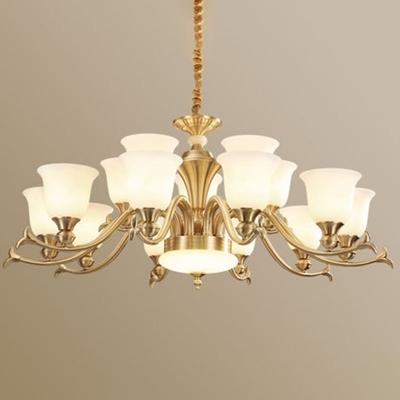 Carillon Living Room Ceiling Pendant Frosted White Glass 6/8/10-Light Modern Chandelier in Brass