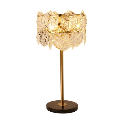 Clear K9 Crystal Snowflake Table Light Post-Modern 6-Light Gold Plated Night Light for Bedroom