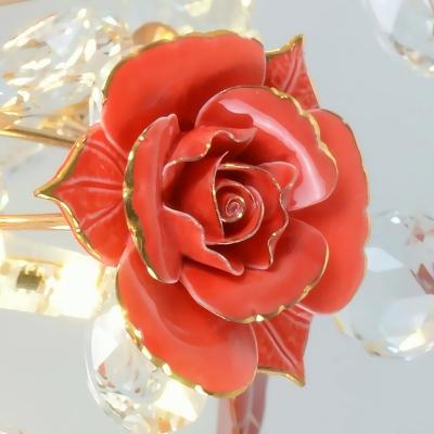 Pastoral Style Rose Flushmount Light 7/16/19-Light Crystal Semi Flush Mount Ceiling Lamp in White/Red/Green