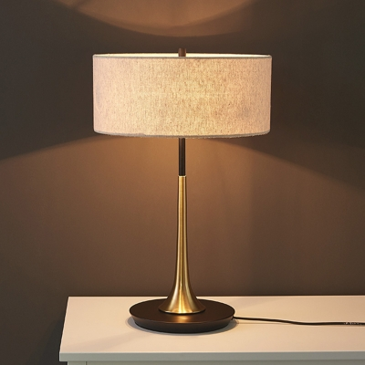 Round/Drum Bedside Table Lighting Fabric 1 Bulb Minimalist Nightstand Light in White/Flaxen, Small/Large