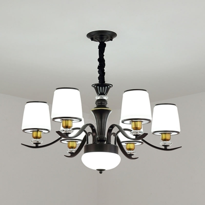 1/2-Tiered Tapered Chandelier Contemporary Milk Glass 6/8/10-Head Dining Room Drop Lamp in Black