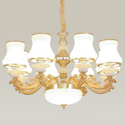 10/12/15-Light Ceiling Chandelier Traditional Flare White Glass Wall Light in Gold for Living Room