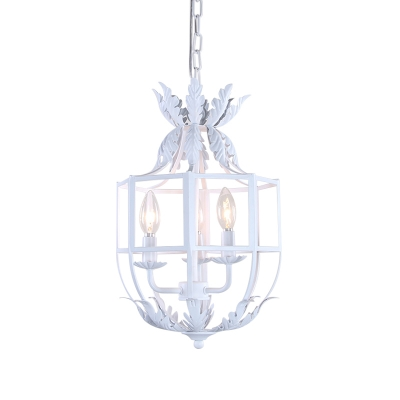 3-Head Wrought Iron Pendant Chandelier Farmhouse White/Grey Cage Bedroom Ceiling Suspension Lamp
