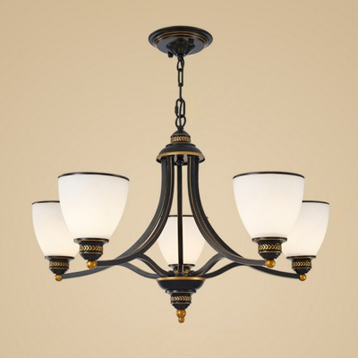 Bell Shaped Living Room Ceiling Pendant Lamp Rustic Cream Glass 6/8/10 Bulbs Black/Gold Chandelier, Up/Down