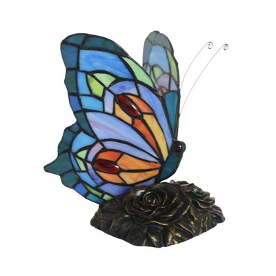 Butterfly Night Table Lamp Tiffany Hand-Cut Stained Glass 1-Light Blue Nightstand Light