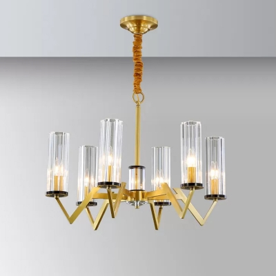 Clear Fluted Glass Cylinder Up Chandelier Postmodern Style 6/8 Bulbs Bedroom Suspension Light in Brass