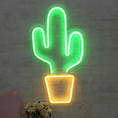 Kids Cactus LED Wall Night Lamp Plastic Childrens Bedroom USB Charging Night Light in White