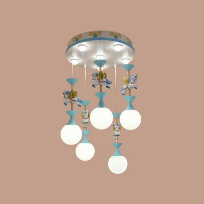 Pink/Blue Carousel Pendant Light Kit Kids Style 1/6/11-Light Suspension Lamp with Ball Milk Glass Shade