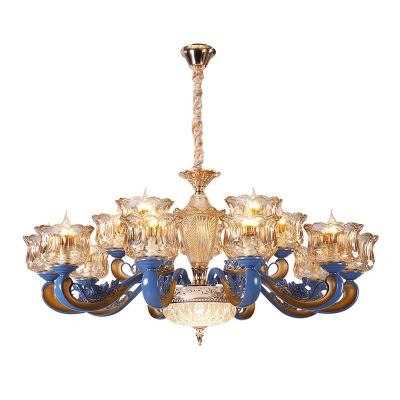 Royal Blue 1/2-Tier Chandelier Traditional White/Clear Glass 12/15/18 Lights Living Room Hanging Ceiling Light