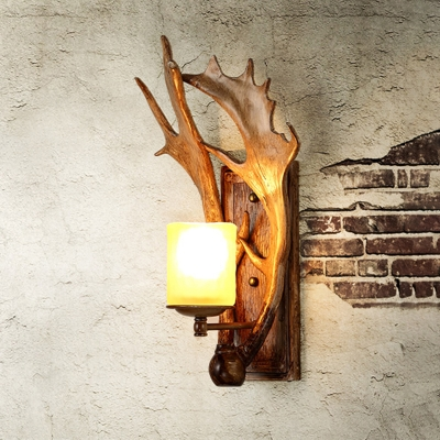 Single Moose Horn Wall Lamp Rustic Brown Resin Wall Sconce with Cup Beige Glass Shade
