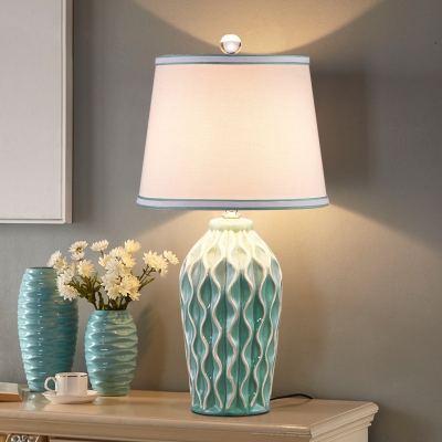 Urn Shaped Night Stand Lamp Modern Ceramic 1-Bulb Grey/Red/Blue Table Light with Tapered Fabric Shade