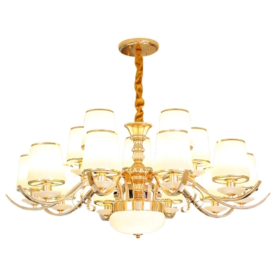 White Glass Bucket Pendant Lighting Contemporary 8/12/15 Lights Living Room Hanging Chandelier in Gold