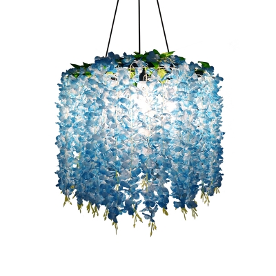 Wisteria Wine Bar Chandelier Lamp Farmhouse Iron 3-Light Purple/Blue/Green Hanging Light Fixture