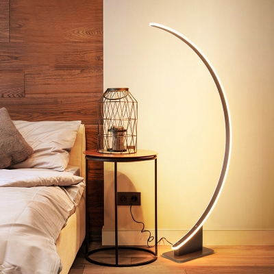 Arch Shaped LED Floor Lamp Contemporary Acrylic Bedside Floor Standing Light in Coffee