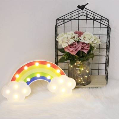 White Rainbow Battery Night Light Cartoon LED Plastic Wall Lamp Kit for Baby Room