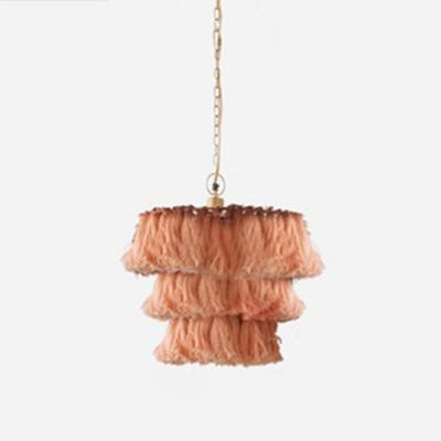 Fiber Rope Pendant Chandelier Cottage Tassel Tiers Dining Room Hanging Light Fixture