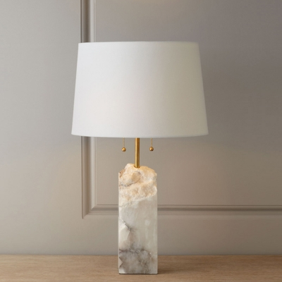 Mica Block Pull-Chain Night Lamp Post-Modern 1-Light White Table Lighting with Fabric Empire Shade
