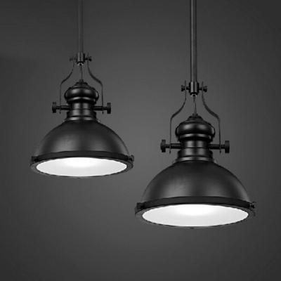 Black Pot Lid Ceiling Light Industrial Metal Single Restaurant Hanging Pendant Light