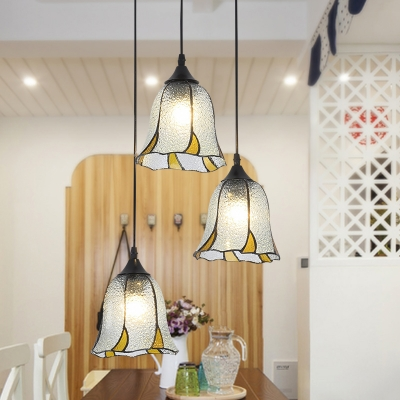 Floral Handcrafted Glass Multi-Pendant Tiffany 3 Lights Hanging Lamp for Dining Room