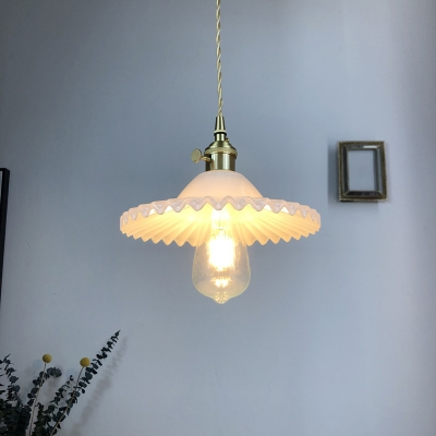 Radial Wave Glass Pendant Light Kit Nordic 1-Light Dining Room Ceiling Hang Lamp